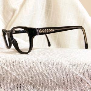 RARE Chanel Cat Eye Eyeglasses Frames Black Silver